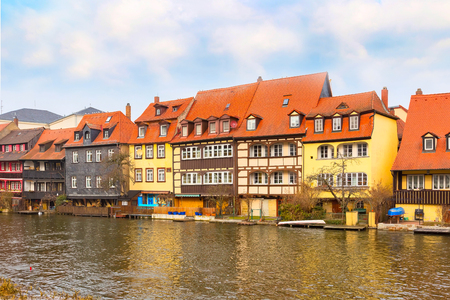 bayern old town: Bamberg city center view with river, half-timbered colorful houses on water