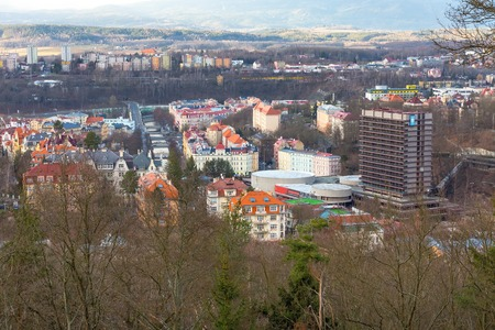 Karlovy Vary, aerial panoramic famous spa town view in Czech Republic 스톡 콘텐츠