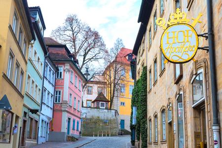 Bamberg, Germany - February 19, 2017: Bamberg city center street view Editorial
