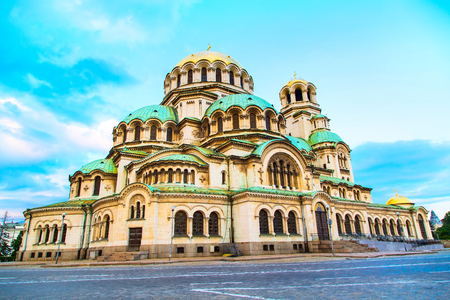 St. Alexander Nevsky Cathedral in the center of Sofia, capital of Bulgaria against the blue morning sky Stock Photo