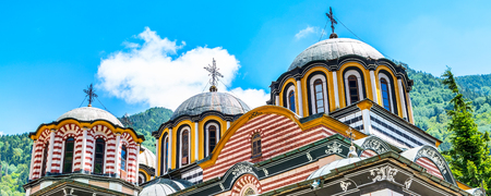 Partial view of church and dome in famous Rila Monastery, Bulgaria