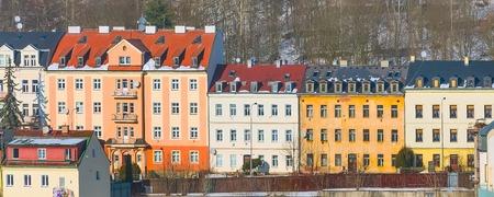 Karlovy Vary houses aerial panoramic banner, Czech Republic