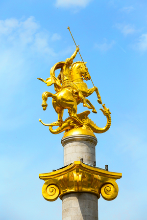 st george golden statue at Freedom square in Tbilisi, Georgia