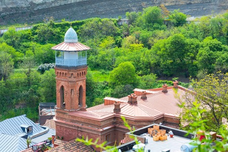 aerial view with mosque tower of Old Town of Tbilisi, Republic of Georgia