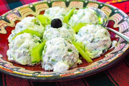 ヨーグルト、キュウリ、ブルガリアの赤いテーブル クロスの上 Snezhanka または牛乳サラダと呼ばれる成っているブルガリアの伝統的なサラダ 写真素材