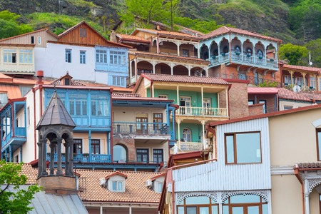 aerial view with houses with traditional wooden carving balconies of Old Town of Tbilisi, Republic of Georgia Banco de Imagens