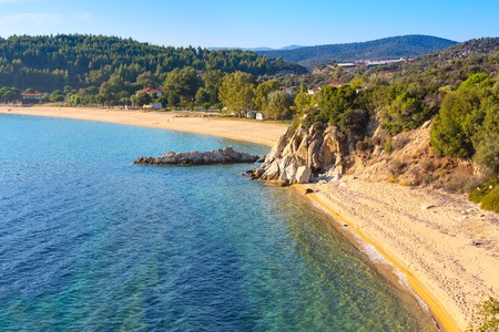 Vacation background with sea water and sandy beach aerial view in Sithonia, Greece Stock Photo