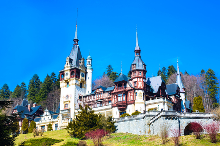 Beautiful landmark of Romania, former royal residence Peles castle, Sinaia