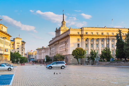 Sofia, Bulgaria - July 5, 2015: Street and square view in the center of Sofia city, capital of Bulgaria