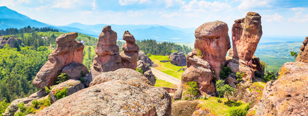 Banner nature gem background with Belogradchik cliff rocks near ancient Kaleto, Bulgaria Stock Photo