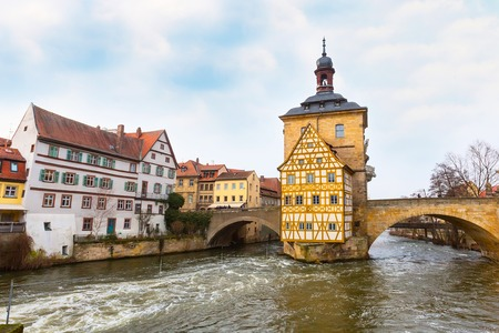 bayern old town: Icon of Bamberg Obere bridge or brucke and Altes Rathaus town hall, Germany