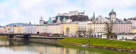 wolfgang: Salzburg, Austria - December 25, 2016: Historic city of Salzburg Panorama with castle across Salzach river