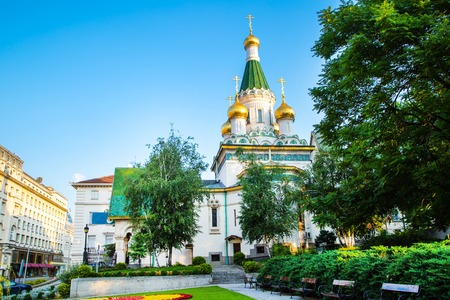 The Russian St. Nicholas church in the centre of Sofia city, capital of Bulgaria Stok Fotoğraf