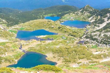 Aerial veiw of Seven Rila Lakes in National Park Rila, Bulgaria