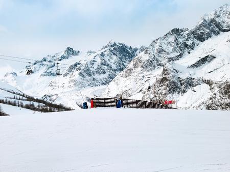france station: ski slopes and mountains panorama of winter ski resort Chamonix, French Alps