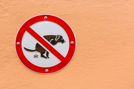 Sign No Dog Poop on the orange wall with copy space