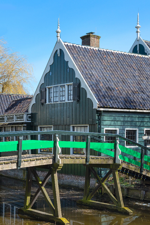 Zaanse Schans, Holland traditional village houses and bridge Stock Photo