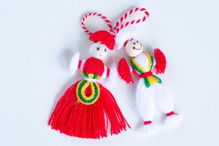 Bulgarian Martenitsa spring sign on the white background