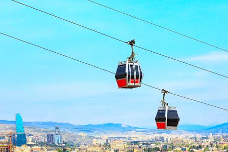 Tbilisi, Georgia funicular cabins and aerial city skyline panoramic view Banco de Imagens - 90845330