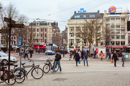 Amsterdam, Netherlands - March 31, 2016: Street view in city in city centre of Amsterdam, Holland