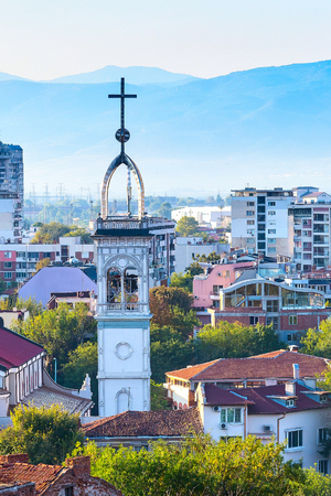 Plovdiv aerial skyline panorama with church and houses
