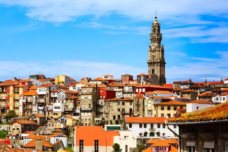 Porto, Portugal old town aerial view with Clerigos church tower