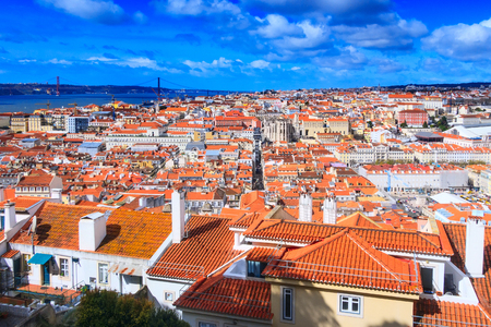 Lisbon, Portugal panoramic aerial view with River Tagus and Ponte de 25th Abril bridge