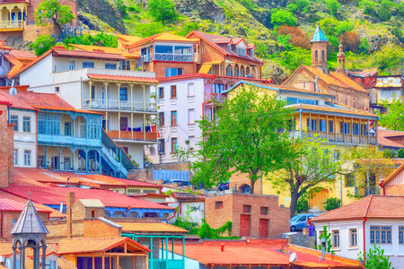 aerial view with traditional old houses in downtown of Tbilisi, Republic of Georgia Banco de Imagens