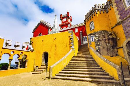 Sintra, Portugal famous portuguese landmark, Pena Palace or Palacio da Pena with staircase