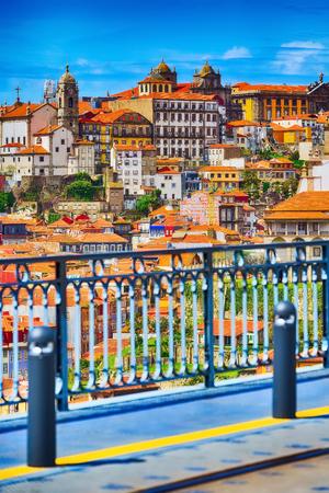 Porto, Portugal old town Ribeira view from Luis I bridge