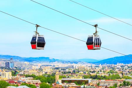 Tbilisi, Georgia funicular cabins and aerial city skyline panoramic view Banco de Imagens - 104112736