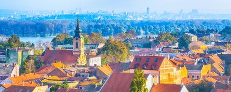 Panoramic view of Zemun, with church tower in Belgrade, Republic of Serbia Reklamní fotografie