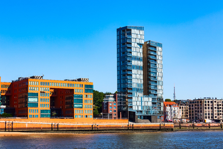 Hamburg, Germany city of Warehouses or Speicherstadt district modern buildings