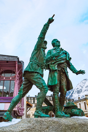 Statue of Balmat and Paccard, first ascent of Mont Blanc, Chamonix, France