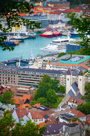 Bergen, Norway cityscape with downtown and boats aerial view 版權商用圖片