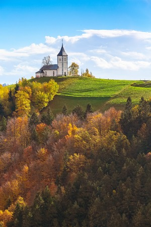 Autumn panorama with Saints Primus and Felician Church on top of hill in Slovenian countryside Stock Photo - 111709056