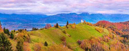 Autumn sunset wide panorama with Saints Primus and Felician Church on top of hill in Jamnik, Slovenia countryside and pink clouds