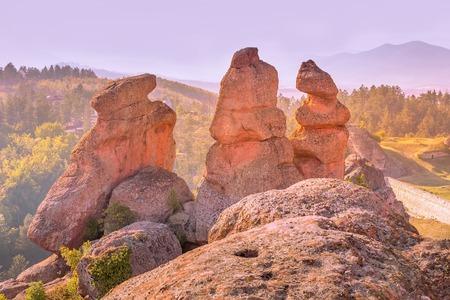 Belogradchik cliff rocks, nature gem landmark, sunset panoramic landscape, Bulgaria