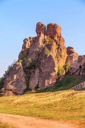 Close-up Belogradchik cliff rocks and kaleto, nature gem landmark, Bulgaria