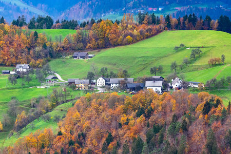 Village houses, autumn forest with colorful fall trees and and mountain green meadows, Slovenia 版權商用圖片