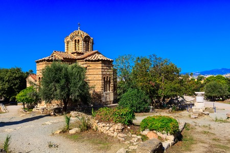 The byzantine church of the Holy Apostles of Solaki in the Ancient Agora of Athens, Greece Stok Fotoğraf