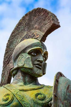 Close-up portrait, statue of Leonidas, King of Sparta, Peloponnese, Greece