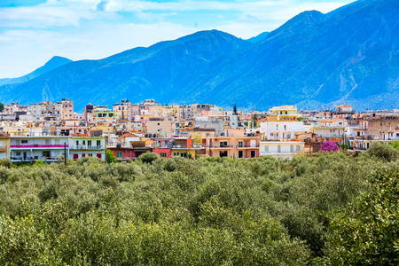 Aerial panoramic view of Sparta city with Taygetus mountains in the background, Peloponnese, Greece