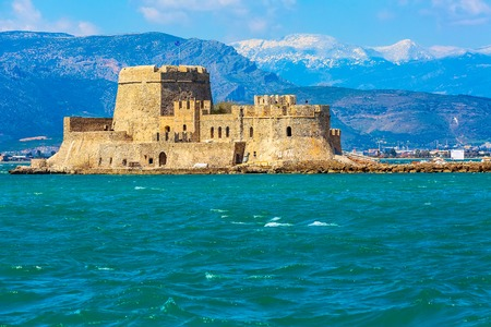 Bourtzi fortress in the sea in Nafplio or Nafplion town the first capital of Greece, Peloponnese