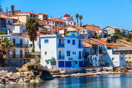 Panoramic view of traditional fishing village of Koroni, Greece in Peloponnese