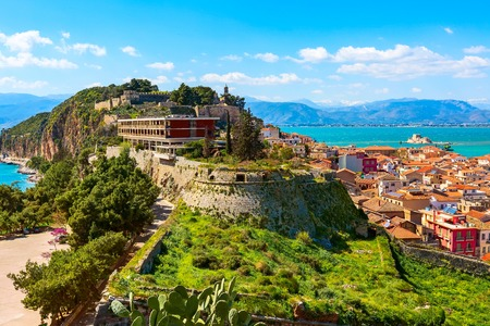 Old town aerial panorama with sea in Nafplio or Nafplion, Greece, Peloponnese