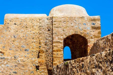 Monemvasia old wall in ancient town and blue sky view, Peloponnese, Greece