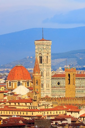Florence, Italy aerial view of historical medieval buildings withtowers Duomo Santa Maria Del Fiore in old town 版權商用圖片