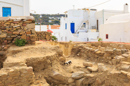 Mykonos, Greece famous island white houses view and old ruins in Cyclades