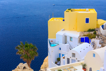 Oia Village in Santorini Island with colorful houses in Greece